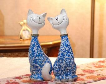 Pair of Happy Cats Sculptures