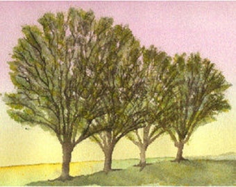 The Summer Trees Watercolor Greeting Card by J. P. Haydock