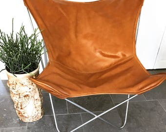 Mid Century Leather Butterfly Chair