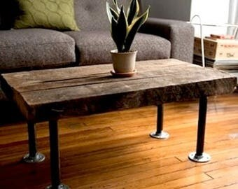 Rustic Wood and Galvanized Steel Coffee Table