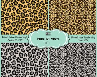 Leopard Animal Print Pattern Printed Vinyl/Siser HTV/ Oracal/ Indoor Vinyl/ Outdoor Vinyl/ Heat Transfer Vinyl- 001