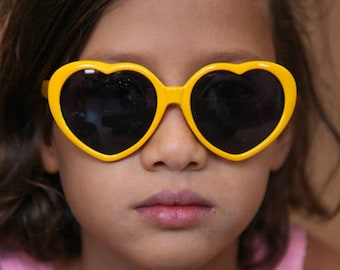 Child Sunglasses, Kids Accessories, yellow sunglasses, Heart Shaped Sunglasses, Girls Sunglasses, Kids Sunglasses