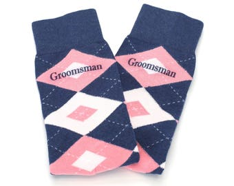 Wedding Groomsman Custom Text Flamingo Petal Blush Pink Navy Wedding Socks for Groomsmen, Groom, Ushers, Fathers