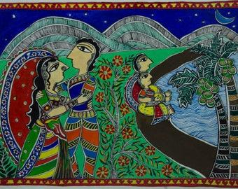 Embracing Love & Nature - Madhubani Painting