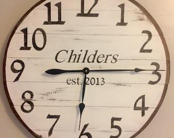 Personalized Farmhouse Clocks (Medium) - Rockwall Clock Company