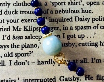 Great Gatsby style romantic lapislazuli pendant  necklace with amazonite and gold filled chain#82