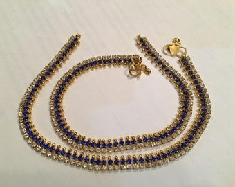 Indian Bollywood Anklet (Blue and White stone)