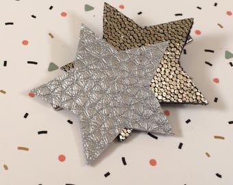 Barrette matte and shiny silver stars