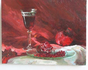 Still life with wine and garnet