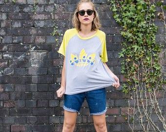 Adidas Sport Retro T-shirt Grey Yellow Bright Vintage