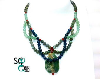 Natural gems - Agate, Apatite and Labradorite and Aventurine necklace