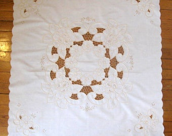 Vintage Cream Cotton Table Cloth. Embroidery & Openwork