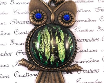 Bronze and green handpainted owl necklace