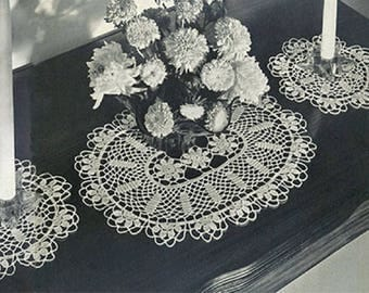 Buffet Blossoms Set Pattern , Flower Crochet Pattern, Vintage Doily Pattern,  heirloom, wedding gift