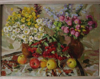 Flowers and apples. Oil on canvas. Realistic still life painting. 2016