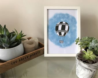 Handmade hot air balloon nursery print