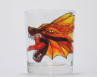 Hand painted whisky glass - fiery red and orange dragon