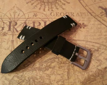 Handmade 20mm genuine leather military style watch strap fit hamilton,other #3