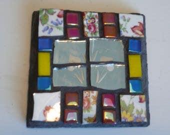 Mosaic slate coaster