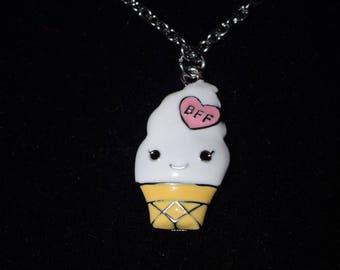 BFF Ice Cream Cone Necklace, silver necklace, bff necklace, Friendship Necklace, pendant necklace