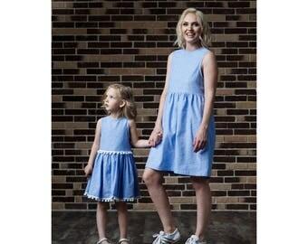 Pompon dress for girls