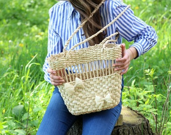 Straw Bag, Light Straw Bag, Straw Handbag, Tote Straw, Woven Straw Bag, Handwoven Straw Bag, Long Handles Bag, Slim Summer Bag, Summer Bag,