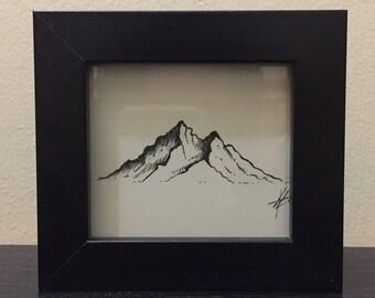 Black ink pen drawing Mountain scene