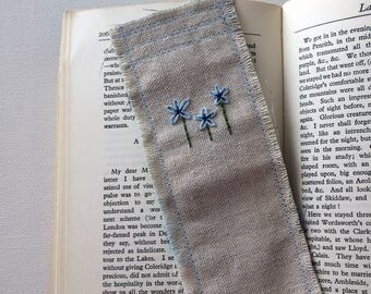 Hand embroidered bookmark blue forget me not