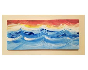 Waves - Sunset; Hand Painted Recycled Wood, Wall Decor, Art, Acrylic
