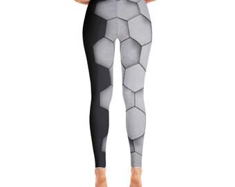 Women's Leggings Fashion Hexagon Metallic Grey And Black Yoga Pants Free Shipping