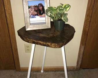 Handmade Wood Stump Table - Industrial Rod Legs