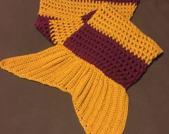 Hand Made Crochet Harry Potter Gryffindor Inspired Mermaid Tail Blanket / Snuggle Sack