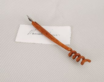 Hand Carved Wood Spiral Dip Pen