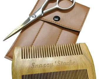 Professional Beard & Mustache Scissors with Wooden Comb - Pefect Gift!