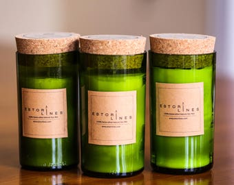 Natural Soy Wax Candles made from re-purposed wine bottles