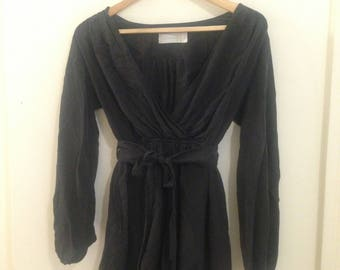 Smokey Long Sleeved Open Neck Playsuit, 100% Sueded Silk
