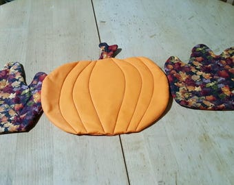 thanksgiving, hot pads, leaves, pumpkins