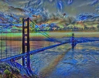 Golden Gate Bridge - Starry Starry Night interpretation Print