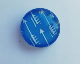 10/20 Blue Arrow Glass Photo Cabochon 12mm Round