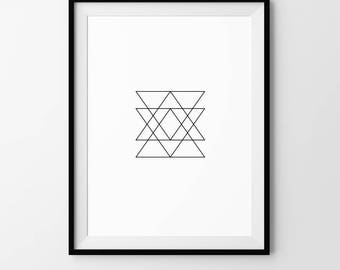 Triangle, Minimalist, Geometric, Pattern, Digital Download, Art, Print, Poster, Black and White, Alchemy, Modern, Contemporary
