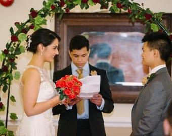 Decorated wedding archway