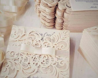 Laser Cut Victorian Lace Ribbon Wedding Invitations with intricate fold outs – Vintage & Romantic , Available in 30+ colors
