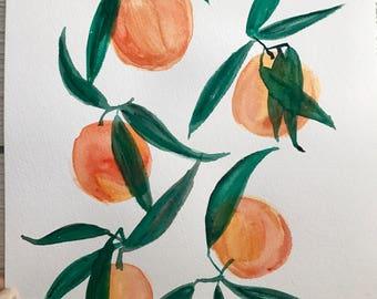 handpainted tangerines watercolor