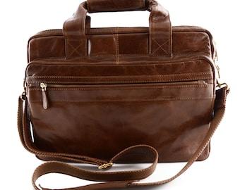 "Genuine Leather Laptop Bag 13"" Multipockets"