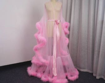 Pink Maribou Feather Robe
