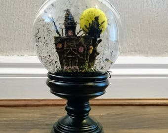 Gothic Haunted House Snow Globe Yellow Moon