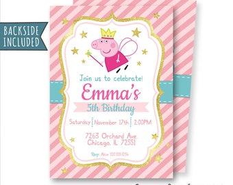 Peppa Pig Invitation, Peppa Pig Birthday Invitation, Peppa Pig Fairy Invitation, Peppa Pig Party, Pink, Personalized, Printables, Digital