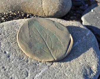 Ceramic brooch, hand made, gift, Clay, green