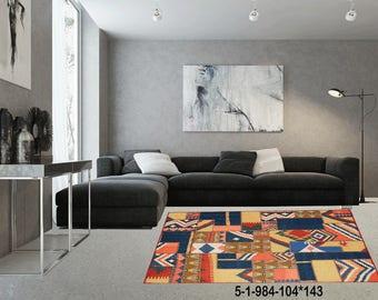 Modern Carpet Handmade Kilim Rug 5-1-984-104*143