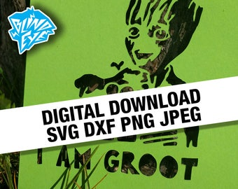 Baby Groot Digital Download Guardians of the Galaxy, Silhouette, Cricut, SVG, DXF